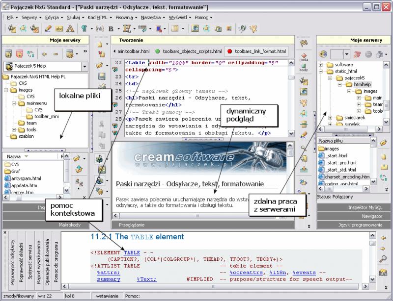 Przykładowy zrzut ekranu edytora Pajączek