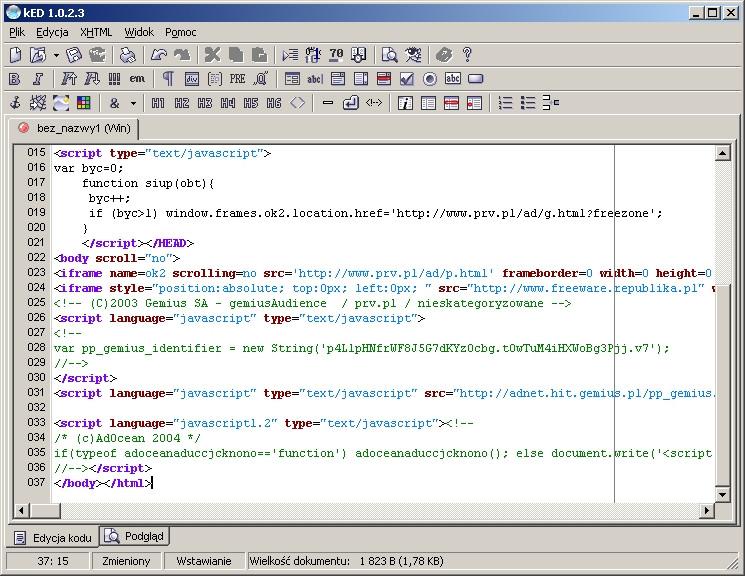 Przykładowy zrzut ekranu edytora kED