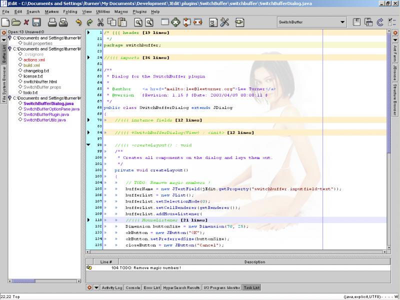 Przykładowy zrzut ekranu edytora jEdit