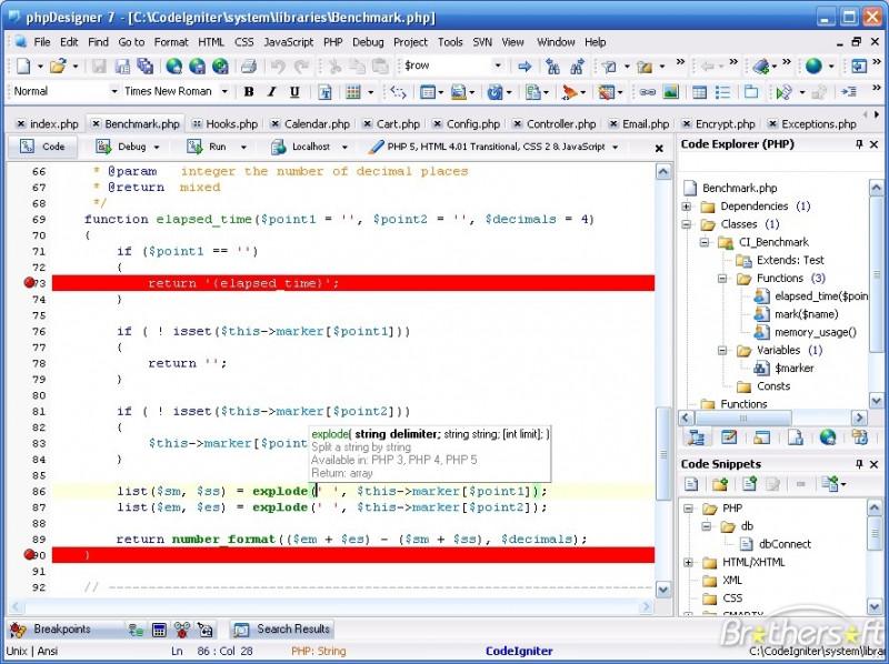 Przykładowy zrzut ekranu edytora phpDesigner