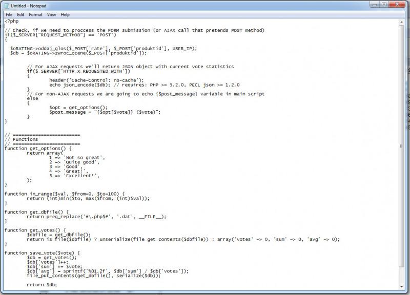 Przykładowy zrzut ekranu edytora Notatnik